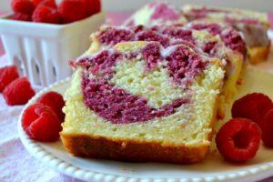 Raspberry lemon pound cake