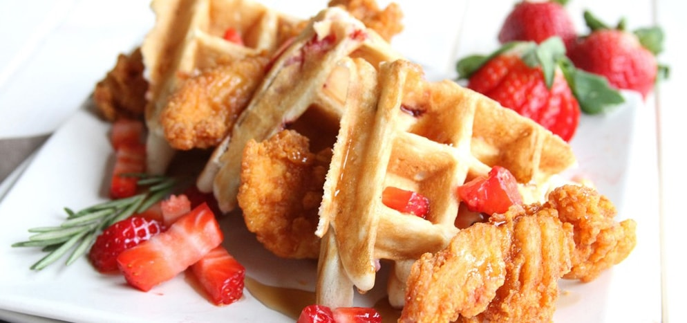 Strawberry and rosemary waffles